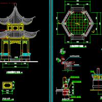 古建双层重檐六角亭建筑及结构全套CAD施工图