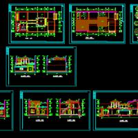 20.5X10.5两层徽派建筑民居建筑图(带效果图)