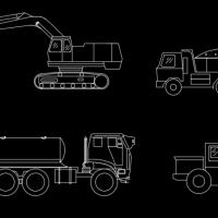 挖掘机 铲车 工程车 物料车CAD图块
