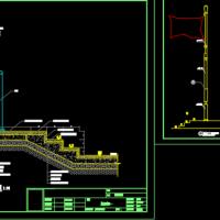 单杆式旗台旗杆施工CAD详图