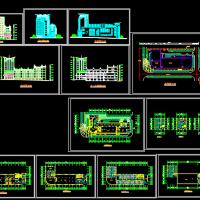 五层框架结构大酒店建筑方案cad图