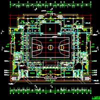 遵义某体育馆网架建筑及结构全套图(篮球馆)