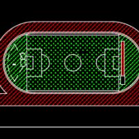 200米塑胶跑道标准操场cad设计图纸