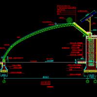 现代农业弧形温室大棚建筑设计施工图(带太阳能发电)