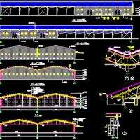 四川6761平米钢管空间拱形屋架彩钢瓦库房建筑及结构全套图