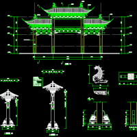 重庆某景区混凝土结构牌坊建筑CAD图