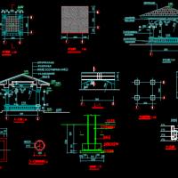 混凝土结构凉亭建筑CAD图