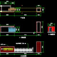 电动伸缩门平立面CAD设计图