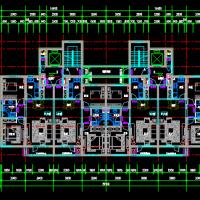 多个一梯两户带连廊高层住宅户型设计图