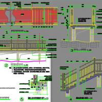 混凝土仿木地板栈道及混凝土仿木栏杆CAD施工图