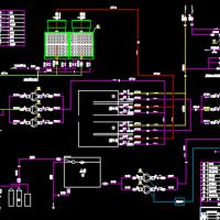 螺杆式制冷机组机房CAD施工图纸