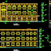 6116平米三层欧式建筑设计施工图(食堂餐厅)
