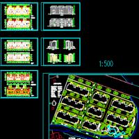 海南某住宅公寓楼四层平立剖方案图