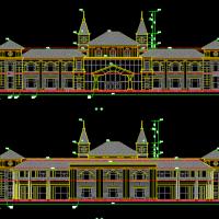 4层框架结构弧形欧式娱乐中心建筑方案图