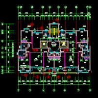 江苏18层住宅一梯两户三居室户型图