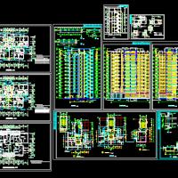 12层剪力墙住宅楼建筑设计图(一梯四户)