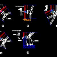 某球形网架玻璃屋面节点CAD图