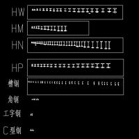 工字钢 槽钢 角钢 C型钢 H型钢CAD图块