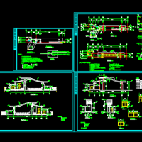 学校弧形顶大门建筑及电气施工图