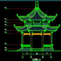 太平府文化园重檐八角亭建筑及结构施工图