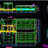 普通快滤池平剖面CAD图