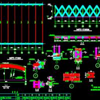 移动圆管钢结构桁架防雨棚CAD图纸