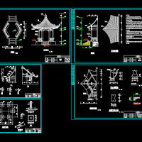 古建六角亭建筑设计CAD图纸