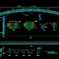 34米跨空间管桁架风雨操场结构设计图(三角形断面)