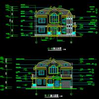 13.5X9.9二层半328平米小别墅建筑施工图