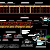 防腐木栏杆CAD详图(湖边路护栏)