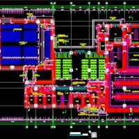 某厂区1618平米一层框架结构食堂浴室及会议室建筑图