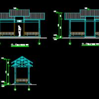 防腐木候车亭CAD施工图纸