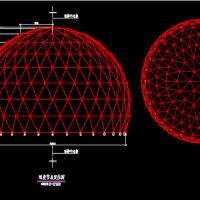钢结构工程球面网壳CAD图纸