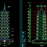 九层钢筋混凝土古塔建筑设计施工图纸