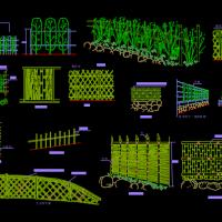 竹篱笆及竹围栏cad图纸
