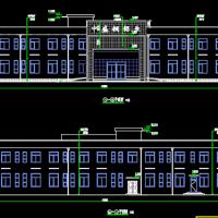 河南1405平米两层框架结构办公楼建结水电全套施工图