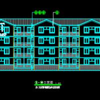 1066平方米4层宿舍楼平立面建筑图