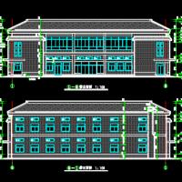 2层坡屋顶框架结构食堂建筑设计施工图