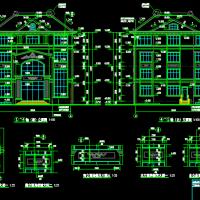 15X17.5四层坡屋顶别墅建结水电全套施工图