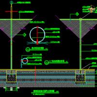 标准篮球场带防护网排水沟设计施工图