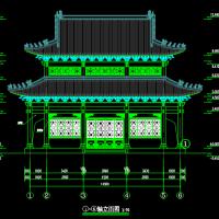 重檐歇山仿古大雄宝殿建筑图