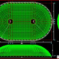 大跨度网壳屋盖结构施工图