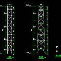 18米高烟囱角钢塔架结构图纸