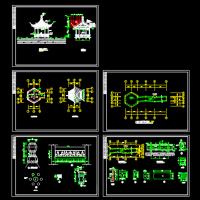 六角亭及连亭曲桥设计CAD图