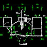 曲流布料水压式沼气池CAD设计图纸
