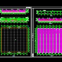 3869平米聚乙烯塑料薄膜连栋温室大棚CAD结构图