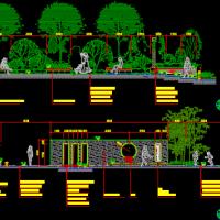 某住宅小区景观景墙节点剖面图