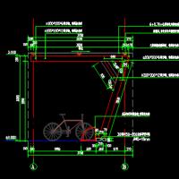 钢结构钢化玻璃顶自行车棚施工图