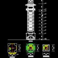 钟楼建筑平立面图