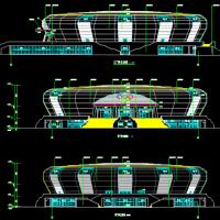 8514平米宁都县体育中心(体育馆)建筑设计施工图(篮球馆带看台)